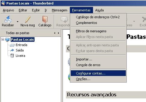 Configurando o Mozilla Thunderbird para acesso por IMAP | World Online