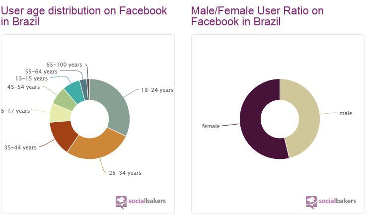 Idade e sexo dos brasileiros no Facebook